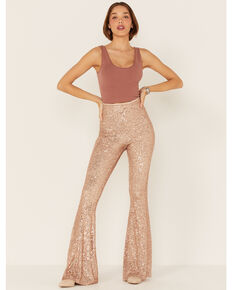 Show Me Your Mumu Women's Sequin Flare Pants, Pink, hi-res