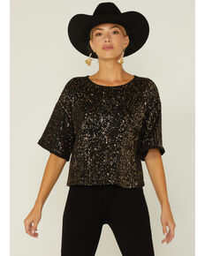 By Together Women's Sequin Short Sleeve Tee , Black, hi-res
