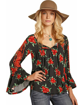 Rock & Roll Cowgirl Women's Black Rose Print Top , Black, hi-res