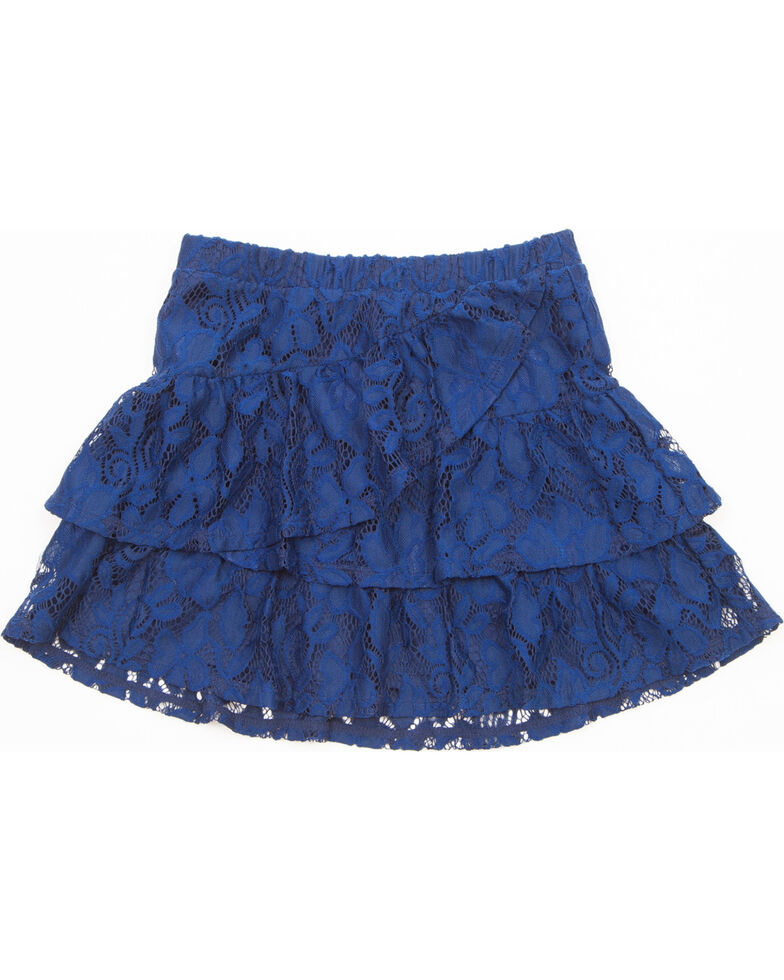 Shyanne Girls' Lace Tiered Skirt, Navy, hi-res
