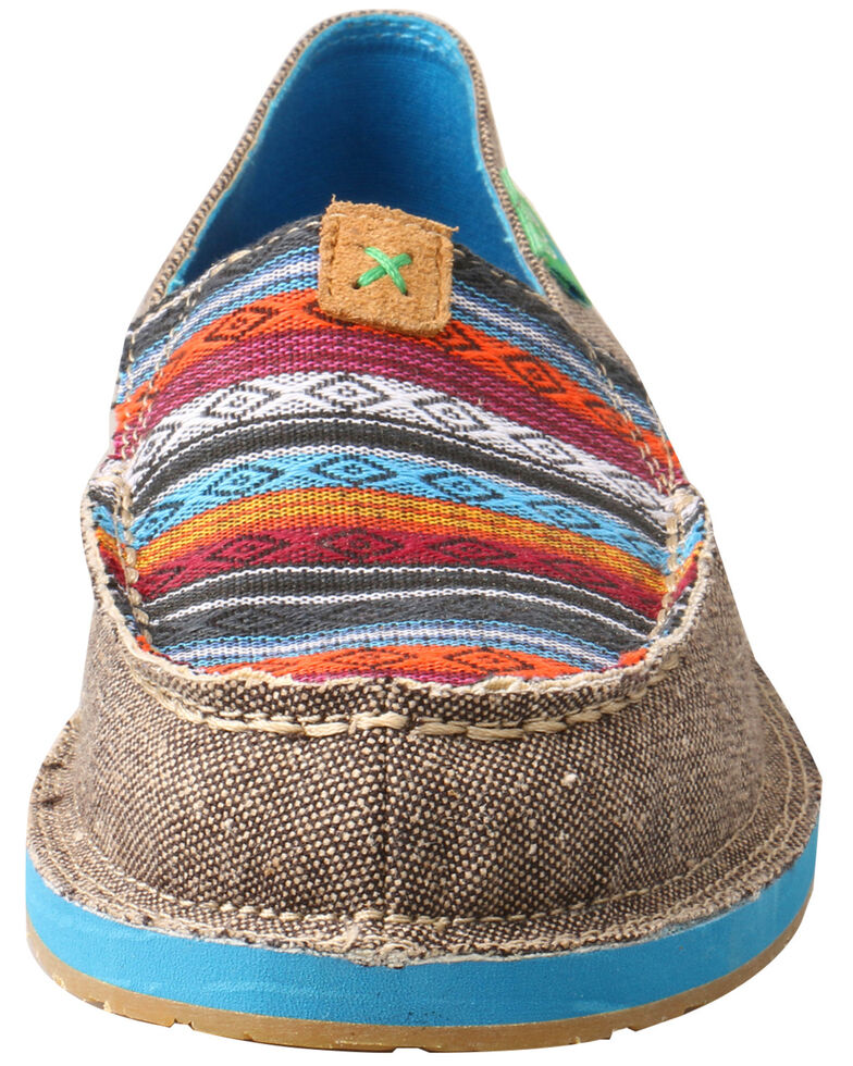 Twisted X Women's Serape Driving Moccasin Shoes - Moc Toe, Grey, hi-res