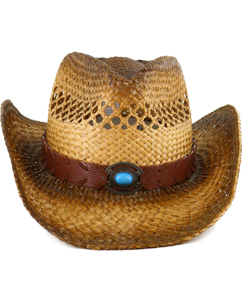 Shyanne Women's Turquoise Concho Straw Hat, Natural, hi-res