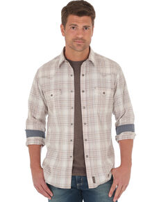 Wrangler Retro Men's Beige Plaid Long Sleeve Snap Western Shirt , Beige/khaki, hi-res