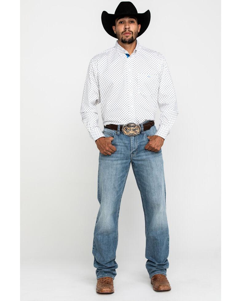 Resistol Men's White Stuart Geo Print Long Sleeve Western Shirt , White, hi-res