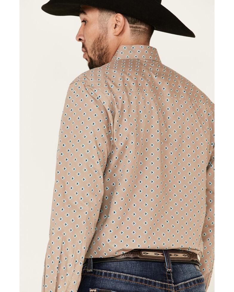 Cinch Men's Modern Fit Spaced Diamond Geo Print Long Sleeve Western Shirt , Beige/khaki, hi-res