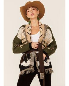 Elan Women's Aztec Fringe Belted Cardigan, Olive, hi-res