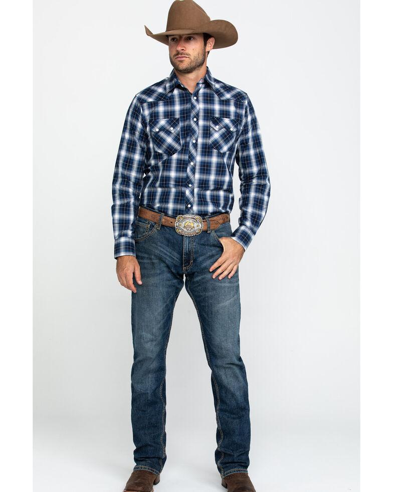 Wrangler Retro Men's Black Small Plaid Long Sleeve Western Shirt , Black, hi-res