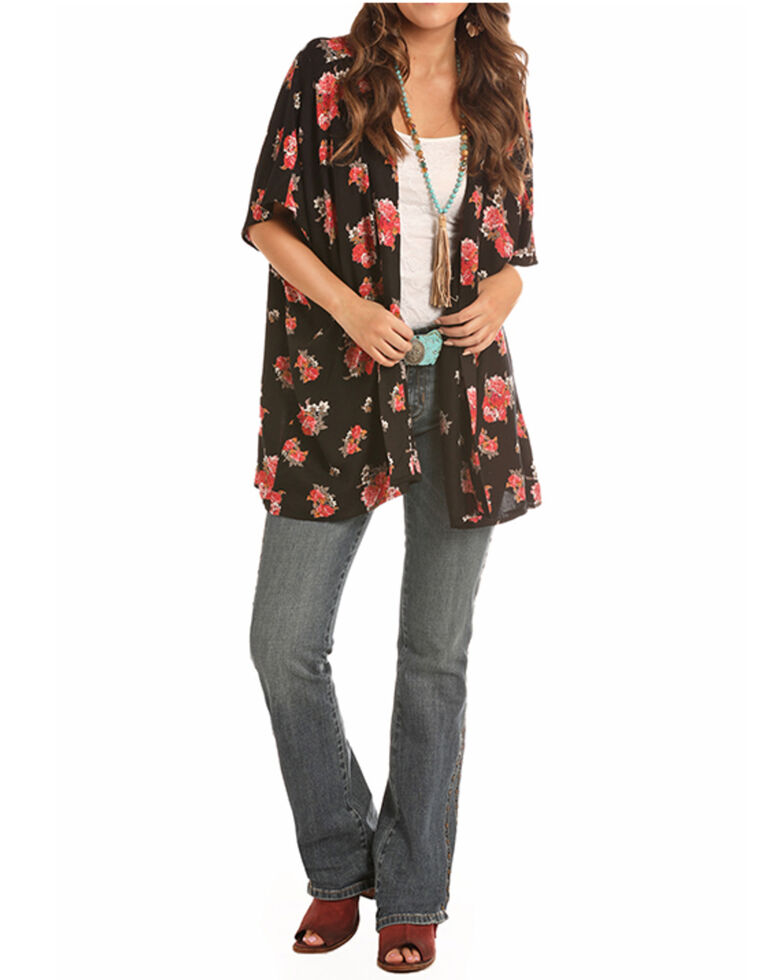 Rock & Roll Denim Women's Black Floral Printed Short Sleeve Kimono , Black, hi-res