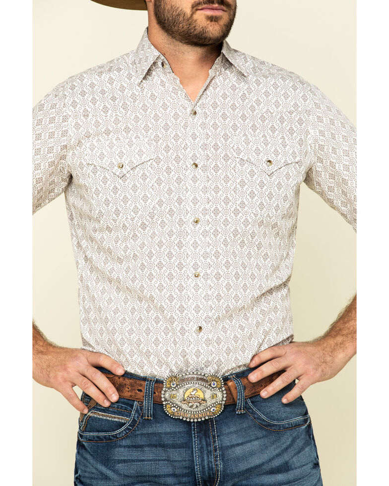 Ely Walker Men's Multi Aztec Geo Print Short Sleeve Western Shirt - Tall, Beige/khaki, hi-res