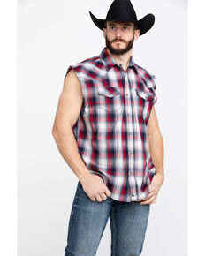 Cody James Men's Bubba Plaid Sleeveless Western Shirt , Red/white/blue, hi-res