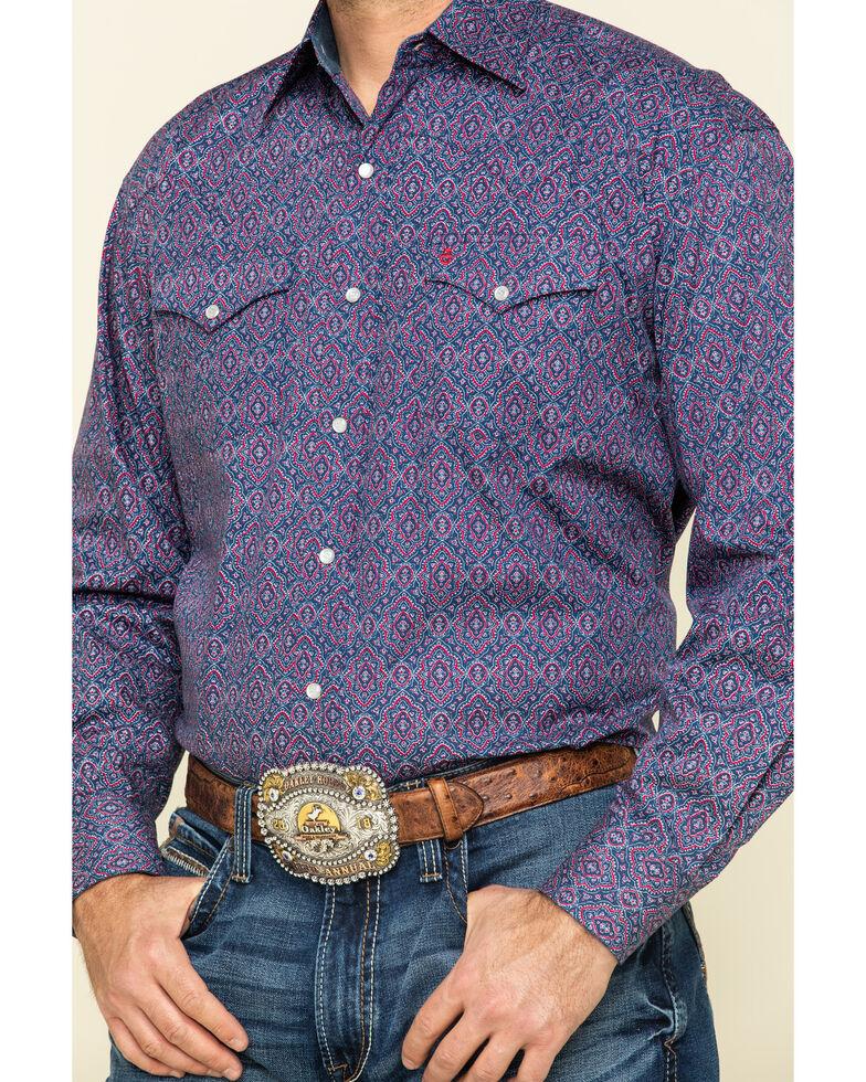 Stetson Men's Blue Classic Medallian Print Long Sleeve Western Shirt , Blue, hi-res
