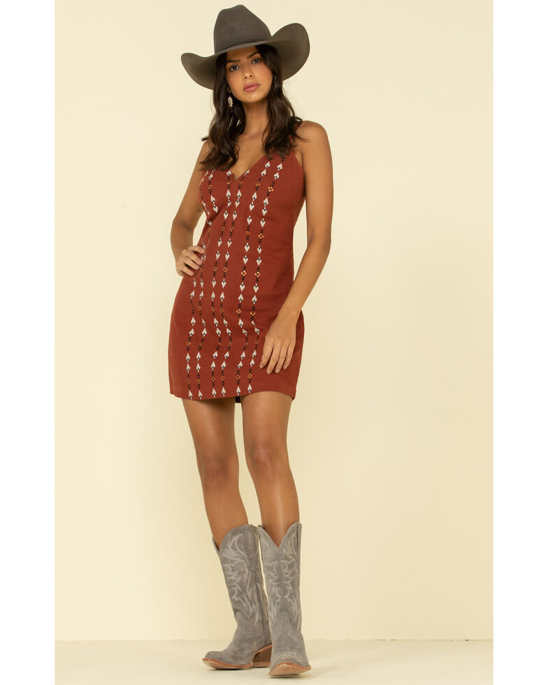 Shyanne Women's Embroidered Geo Stripe Mini Dress , Rust Copper, hi-res