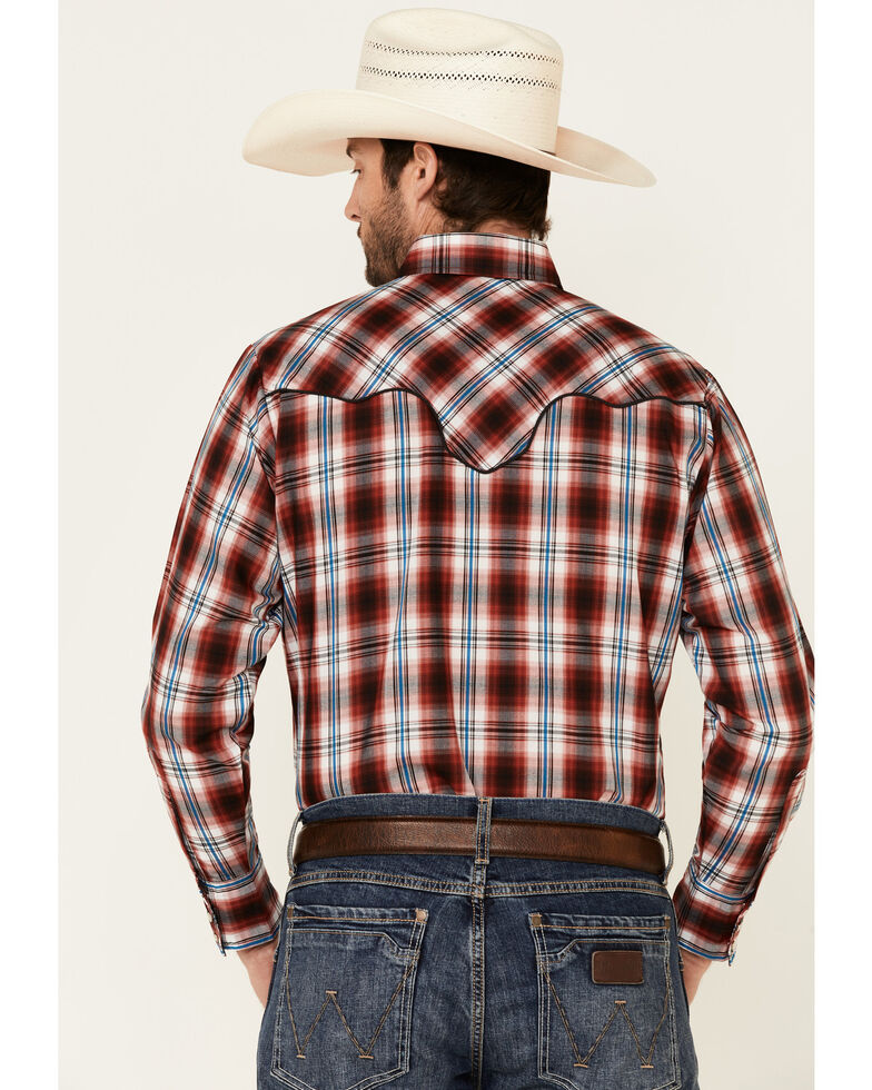 Ely Walker Men's Red Vintage Plaid Piped Yoke Long Sleeve Snap Western Shirt , Red, hi-res