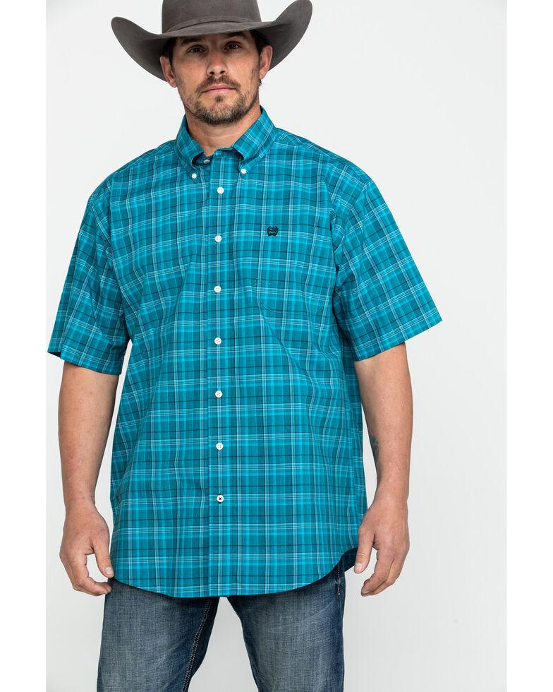 Cinch Men's Teal Med Plaid Short Sleeve Western Shirt , Teal, hi-res