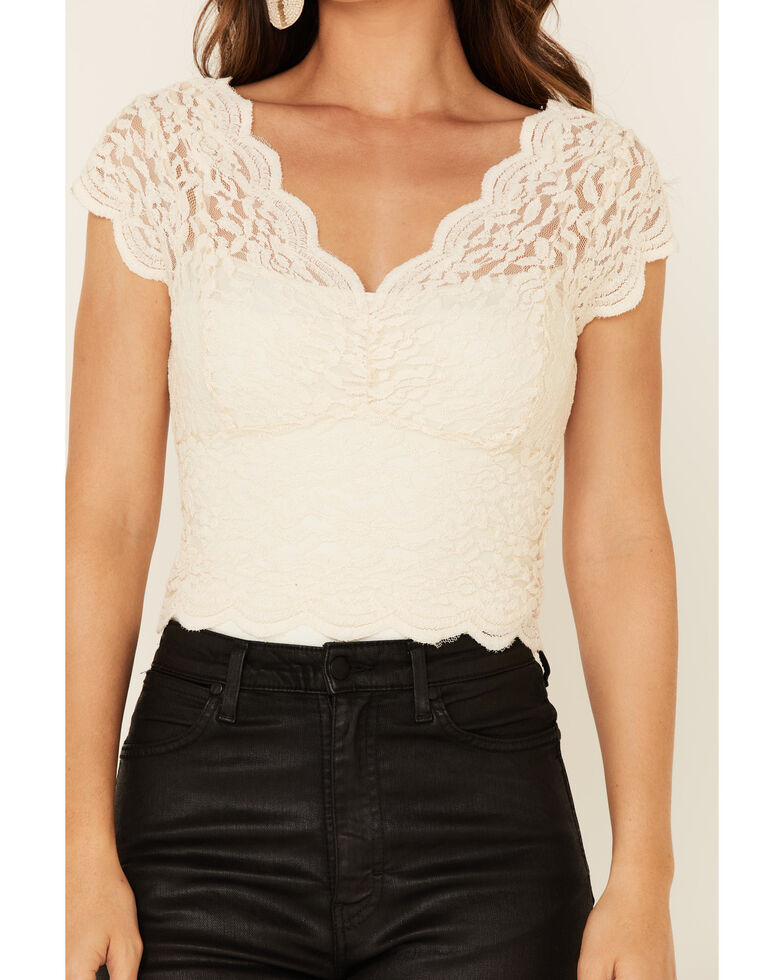 Shyanne Women's Ivory Lace Short Sleeve Crop Top , Ivory, hi-res