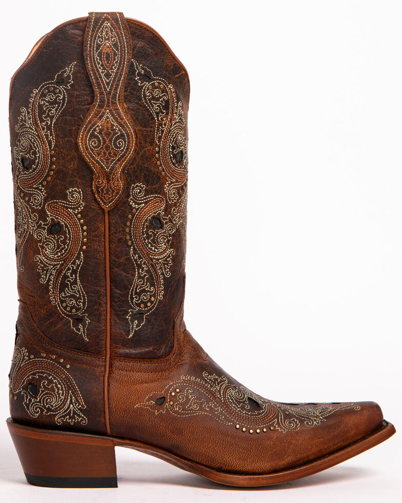 Shyanne Women's Isabelle Inlay Stud Western Boots - Snip Toe, Brown, hi-res
