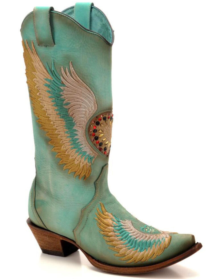 Corral Women's Turquoise Crystal Heart And Wings Embroidered Cowgirl Boots   Snip Toe by Corral