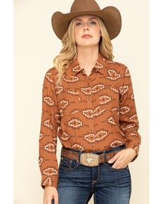 Ariat Women's Autumn Blossom R.E.A.L Billie Jean Shirt, Brown, hi-res