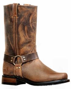 Boulet Men's Motorcycle Boots - Narrow Square Toe, Brown, hi-res