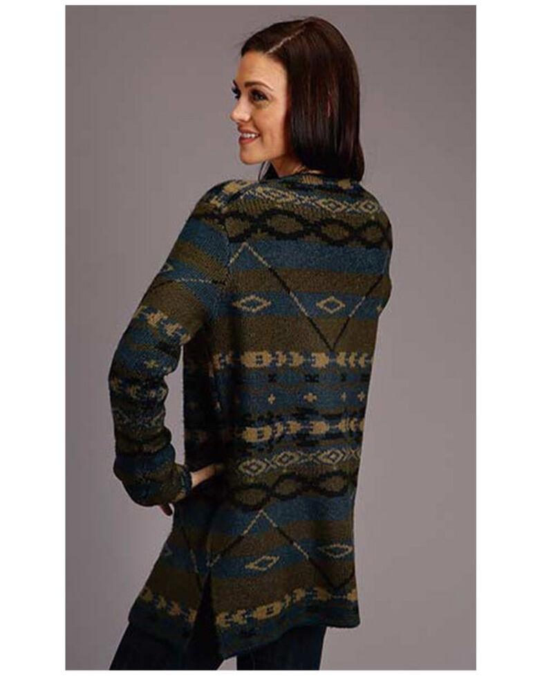 Stetson Women's Charcoal Aztec Stripe Cardigan, Charcoal, hi-res