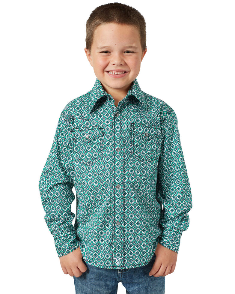 Wrangler 20X Boys' Advanced Comfort Green Geo Print Long Sleeve Western Shirt , Green, hi-res