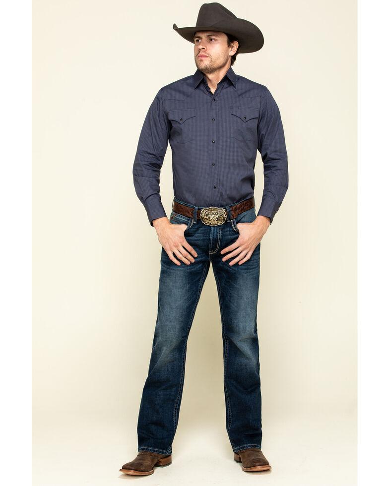 Ely Cattleman Men's Navy/Khaki Geo Print Long Sleeve Western Shirt , Navy, hi-res