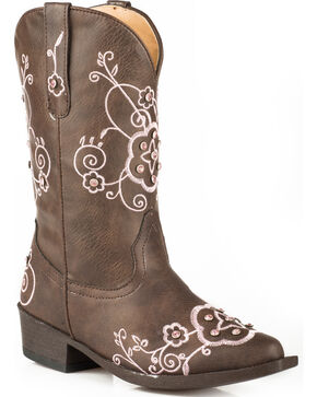 Roper Girls' Brown Flower Sparkles Western Boots - Pointed Toe , Brown, hi-res