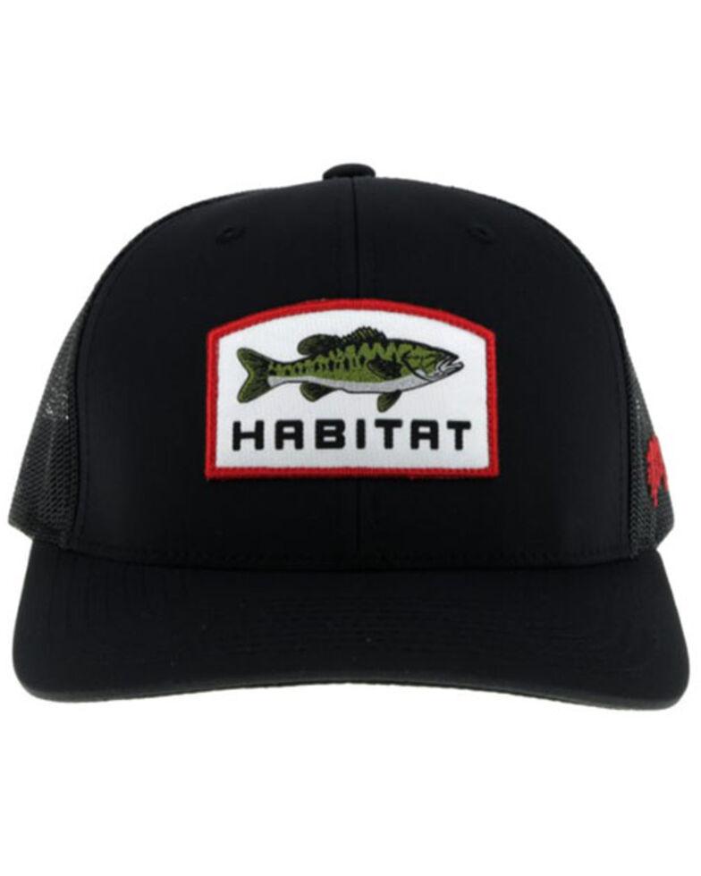 HOOey Men's Habitat Black Panel Patch Mesh Back Trucker Cap, Black, hi-res