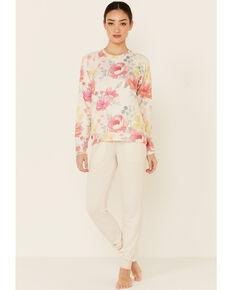 PJ Salvage Women's Happy Blooms Floral Print Long Sleeve Top , Oatmeal, hi-res