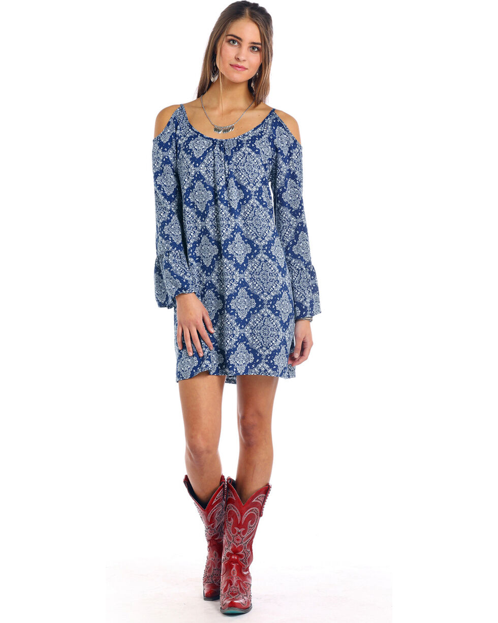 Panhandle Women's Cold Shoulder Bandana Print Dress, Blue, hi-res