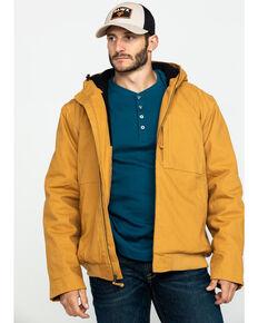Hawx Men's Brown Canvas Quilted Bi-Swing Hooded Zip Front Jacket - Big , Brown, hi-res