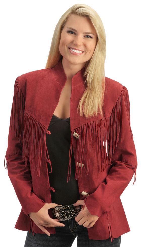 Scully Fringe Suede Leather Jacket, Red, hi-res
