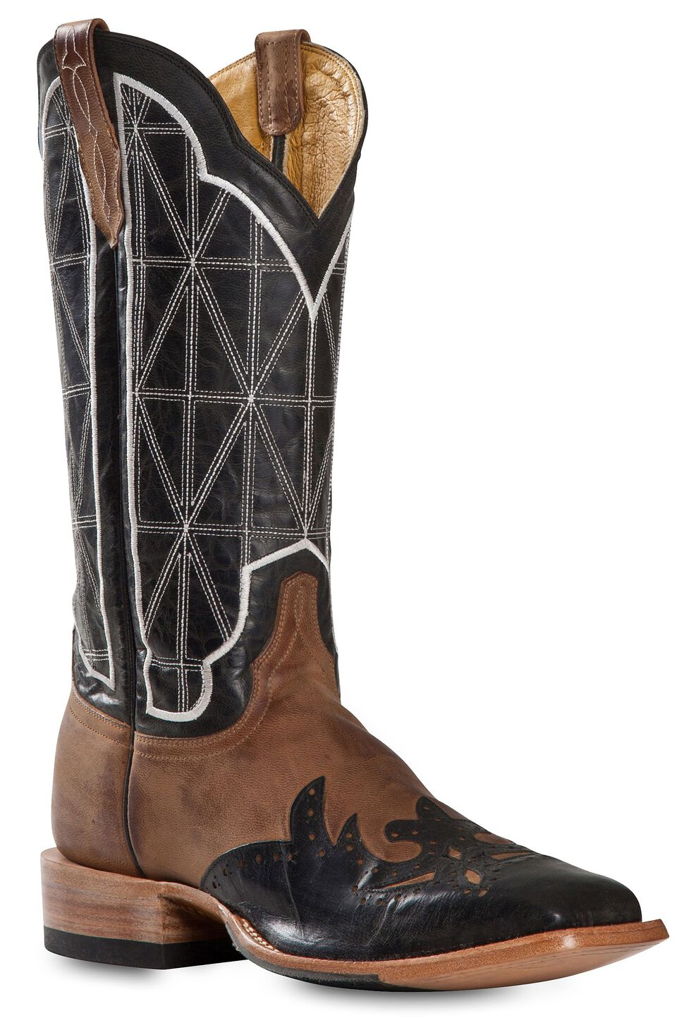 Cinch Classic Mad Dog Stained Glass Wingtip Cowboy Boots - Square Toe, Black, hi-res