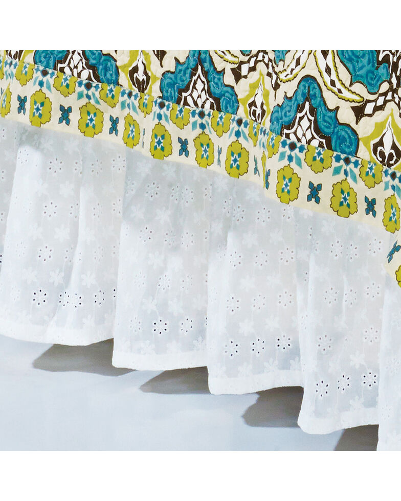 HiEnd Accents Eyelet Queen Bed Skirt , White, hi-res