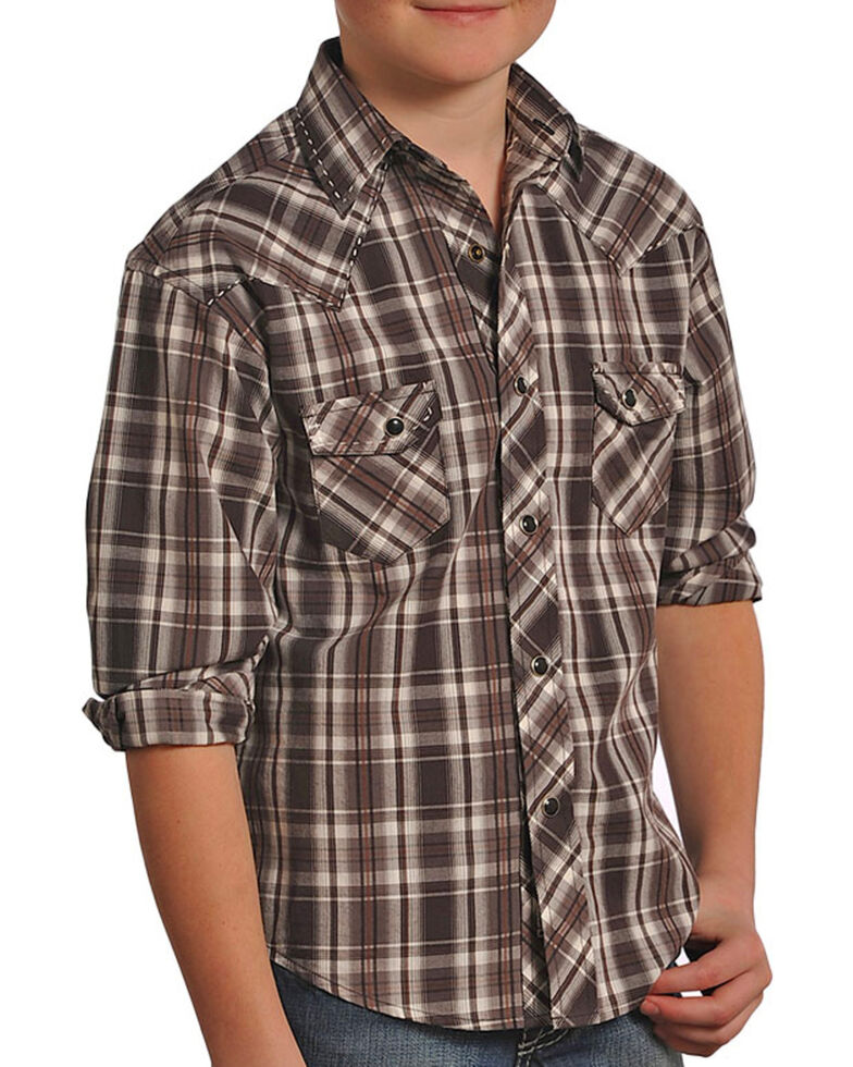 Rock & Roll Cowboy Boys' Brown Satin Plaid Shirt , Brown, hi-res