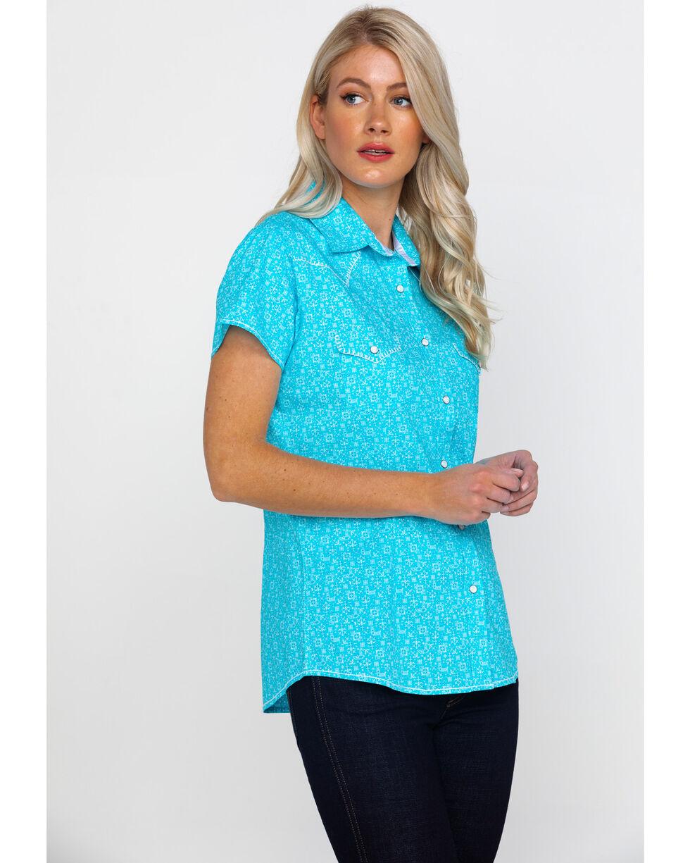 Rough Stock By Panhandle Women's Portero Geo Print Short Sleeve Western Shirt , Turquoise, hi-res