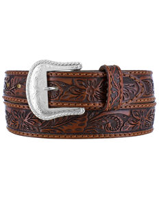 Tony Lama Men's Floral Tooled Western Belt, Cognac, hi-res