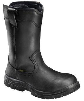 Avenger Men's Black Waterproof Wellington Work Boots - Composite Toe, Black, hi-res