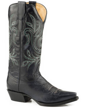Roper Women's Black Classy Western Boots - Snip Toe , Black, hi-res