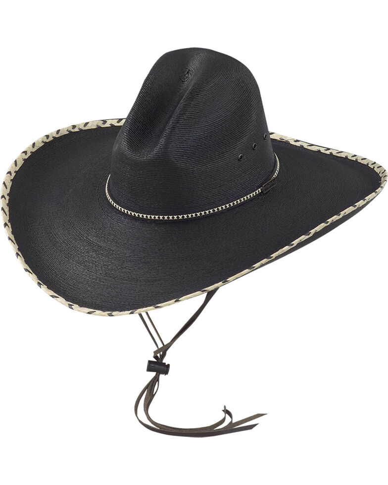 9ca2f4762f6ae Larry Mahan Black 30X Pancho Gus Palm Straw Western Hat - Country ...
