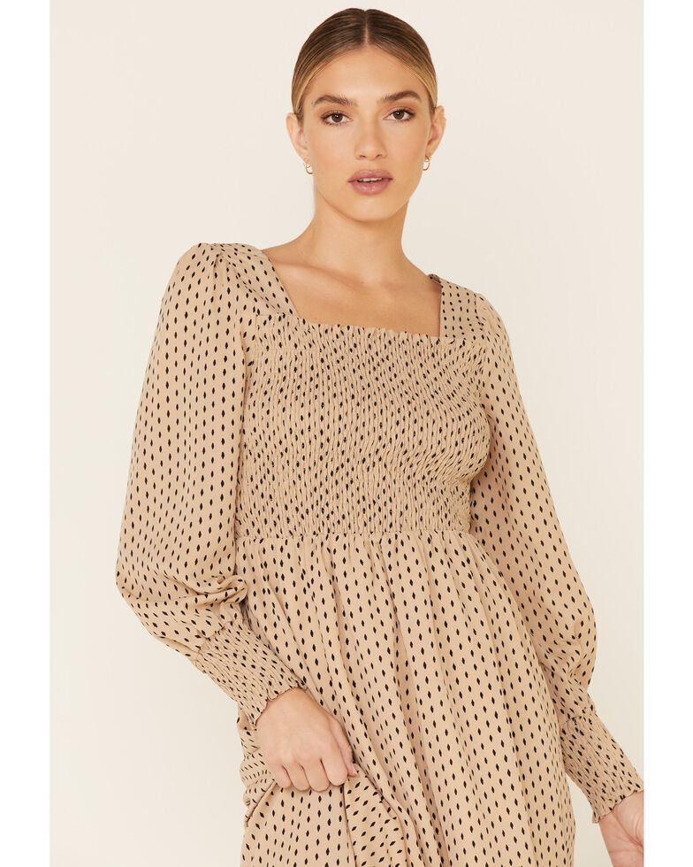 Very J Women's Tan Smocked Front Dress, Tan, hi-res