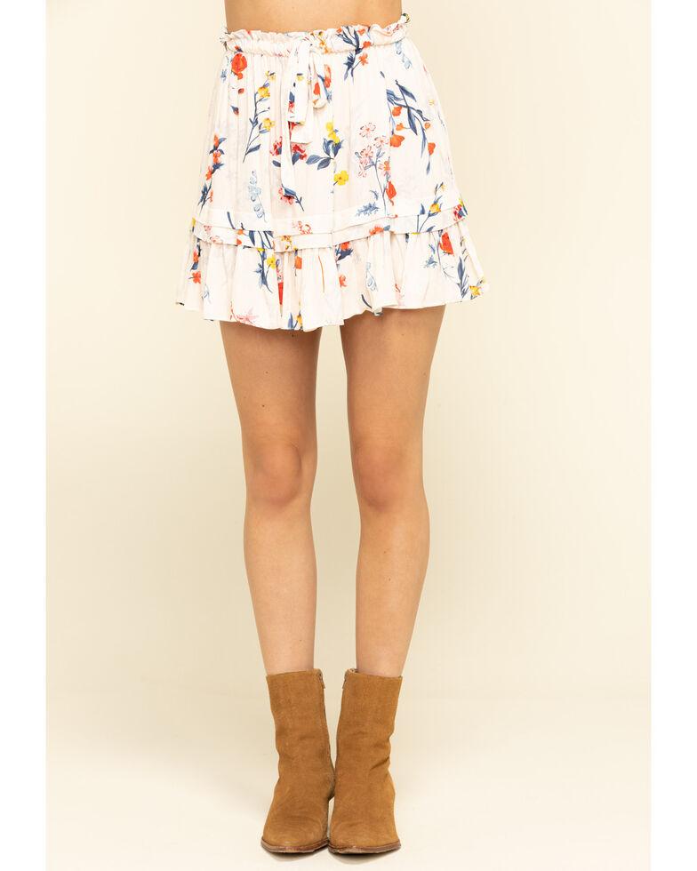 Miss Me Women's Cream Floral Tiered Ruffle Mini Skirt , Cream, hi-res