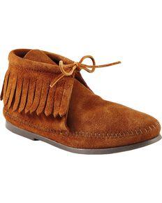 Women's Minnetonka Classic Fringe Moccasin Boots, Brown, hi-res