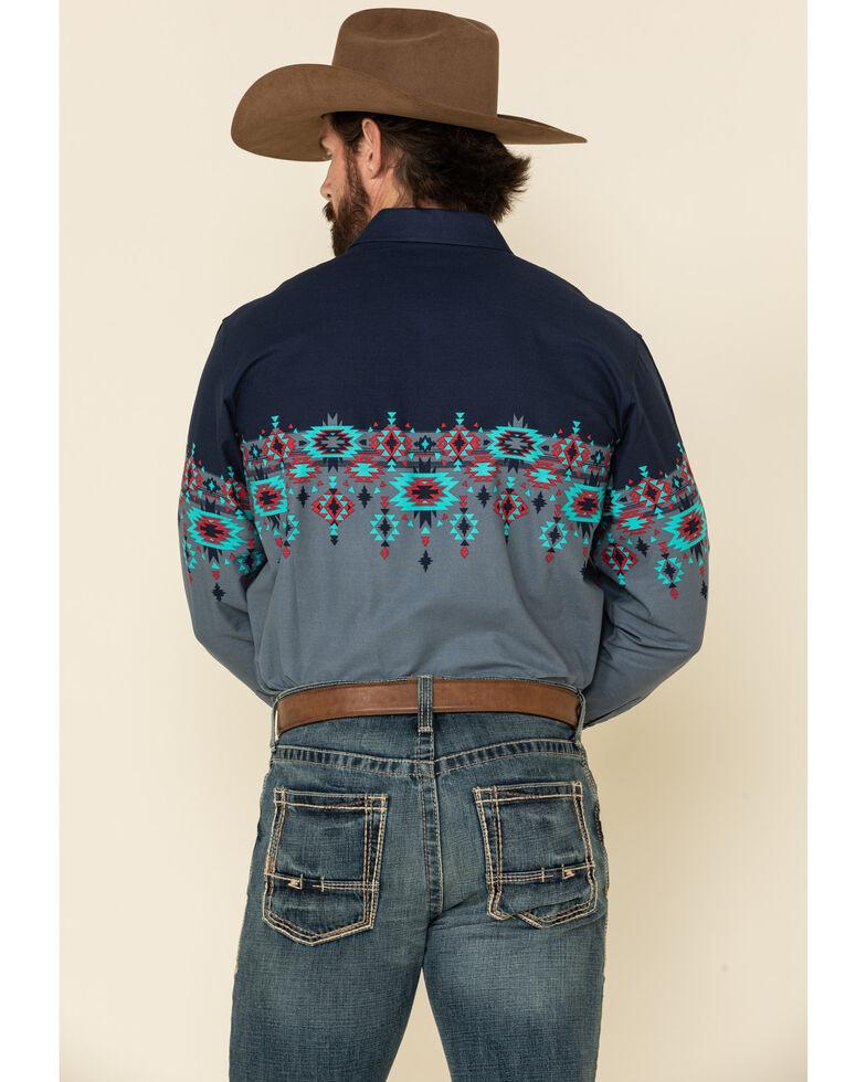 Panhandle Men's Grey Aztec Scenic Border Print Long Sleeve Western Shirt , Grey, hi-res