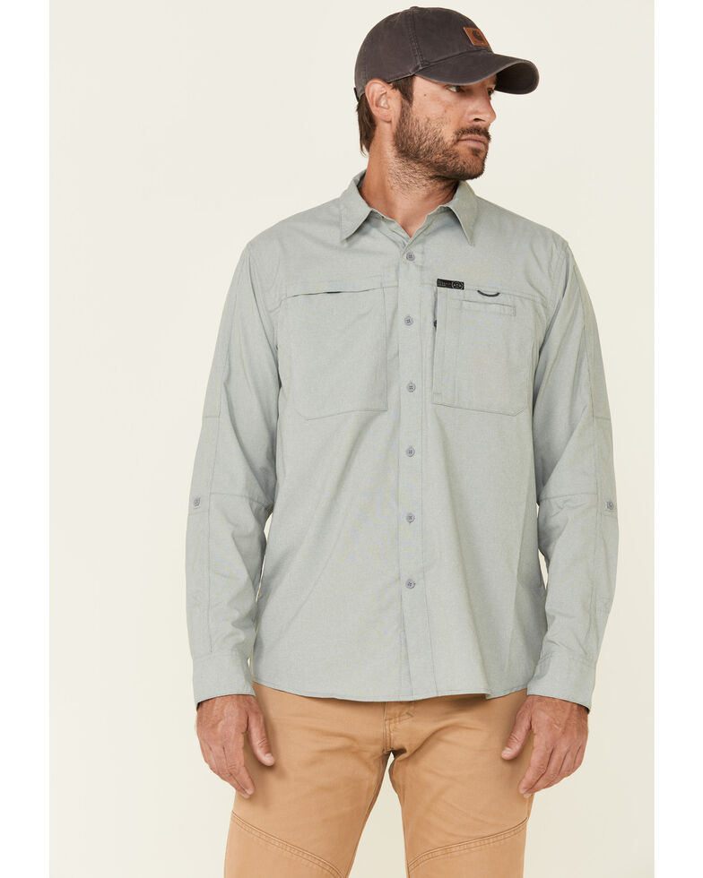 Wrangler All-Terrain Men's Dark Forest Hike To Fish Long Sleeve Western Shirt , Forest Green, hi-res