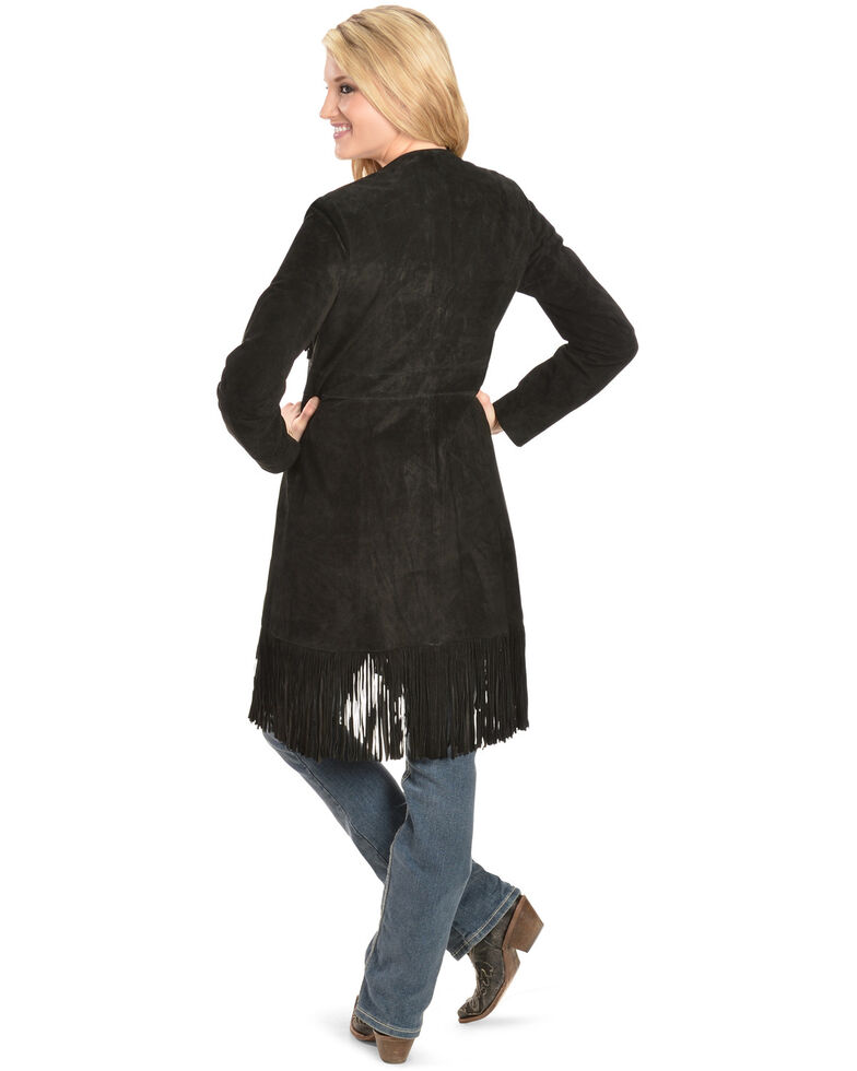 Scully Boar Suede Fringed Maxi Coat, Black, hi-res