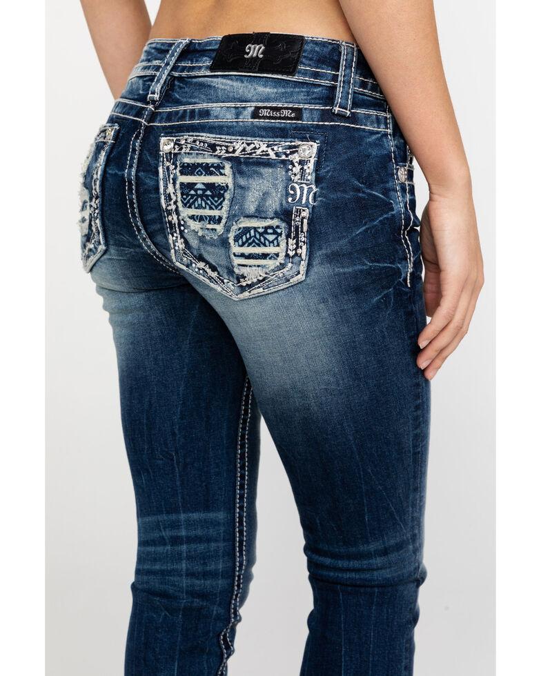 Miss Me Women's Aztec Embroidered Distressed Pocket Capri Jeans , , hi-res
