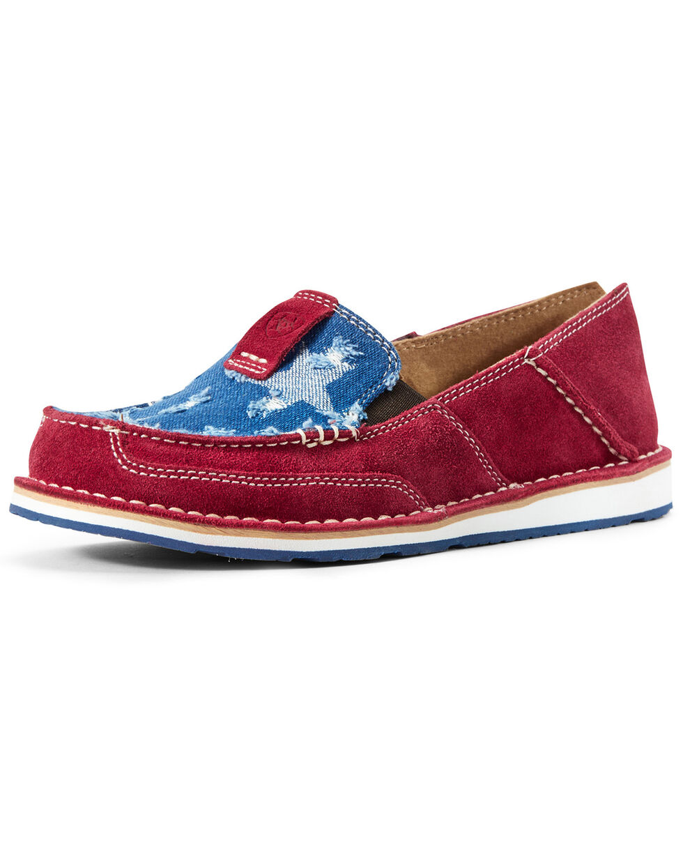 Ariat Women's Red Denim Cruiser Shoes - Moc Toe, Blue/red, hi-res