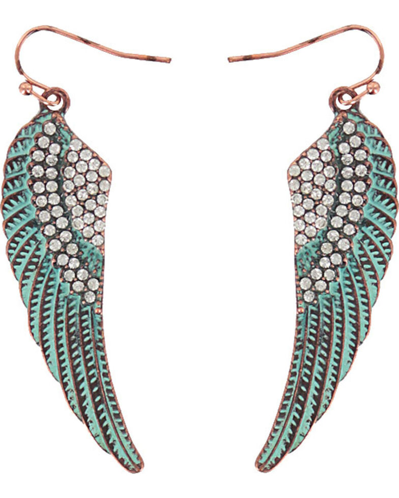 Shyanne Women's Turquoise Angel Wing Earrings, Turquoise, hi-res