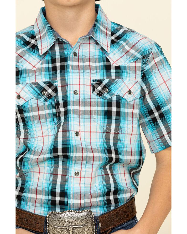 Cody James Boys' Firefly Plaid Short Sleeve Western Shirt , Red/white/blue, hi-res